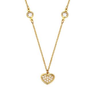 Ανάγλυφο Κρεμαστό-Καρδιά Χρυσό Με Ζιργκόν 14K