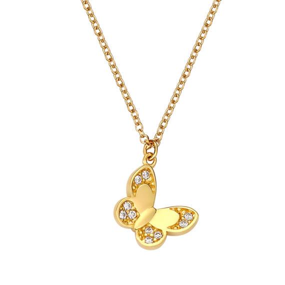 Ανάγλυφο Κρεμαστό Πεταλούδα Χρυσό Με Ζιργκόν 003094 Jewelor