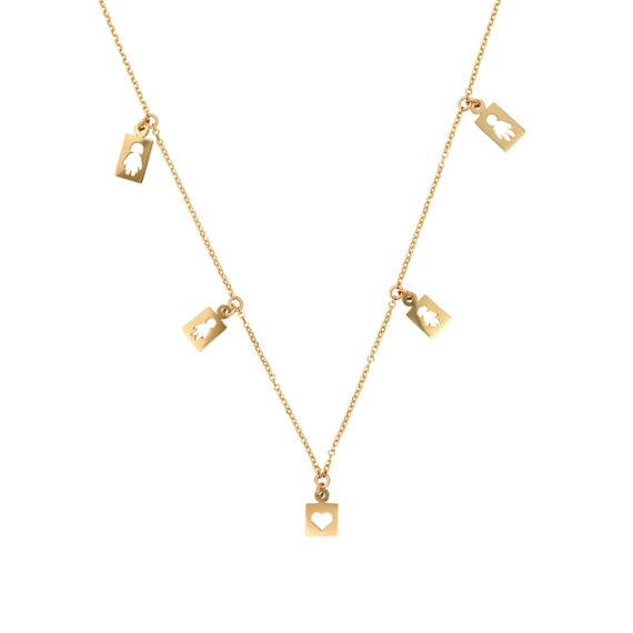 Διάτρητο Κρεμαστό Οικογένεια Χρυσό 003095 Jewelor