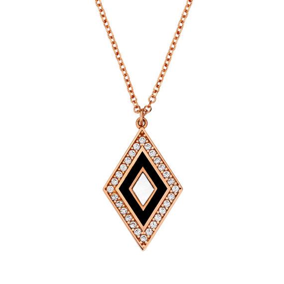 Διάτρητο Πολύχρωμο Κρεμαστό Ρόμβος Ροζ Χρυσό Με Ζιργκόν Και Σμάλτο 003099 Jewelor