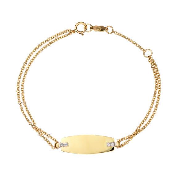 Διπλό Βραχιόλι Ταυτότητα Χρυσό Με Ζιργκόν 003089 Jewelor