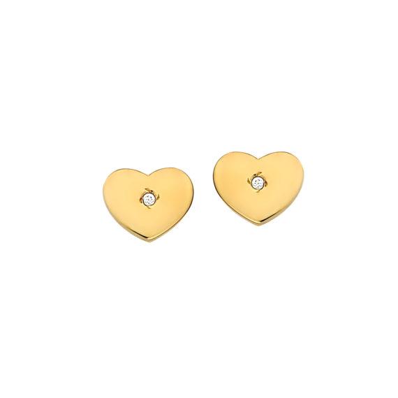Καρφωτά Σκουλαρίκια Καρδούλες Χρυσά Με Ζιργκόν 003107 Jewelor