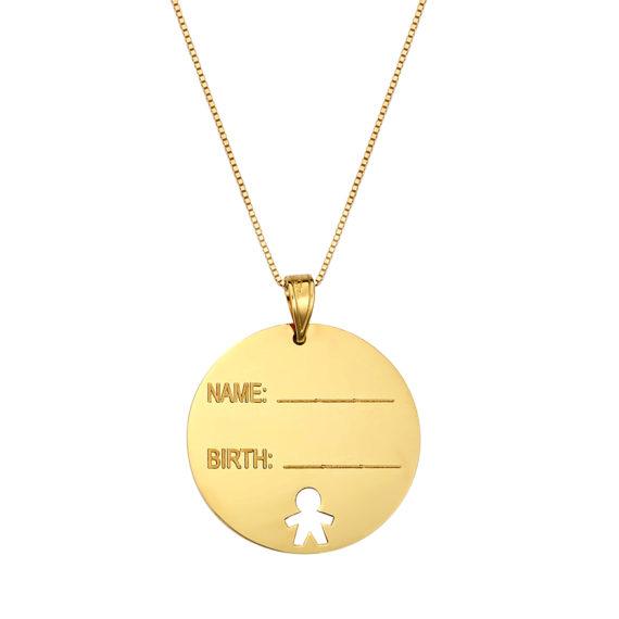 Κρεμαστό Ταυτότητα Στρόγγυλο Χρυσό 003105 Jewelor