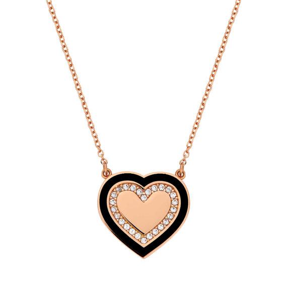 Μενταγιόν Καρδιά Ροζ Χρυσό Με Ζιργκόν Και Σμάλτο 003101 Jewelor
