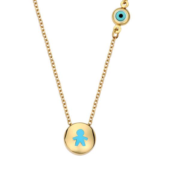 Στρόγγυλο Μενταγιόν Αγοράκι Χρυσό Με Σμάλτο 003103 Jewelor