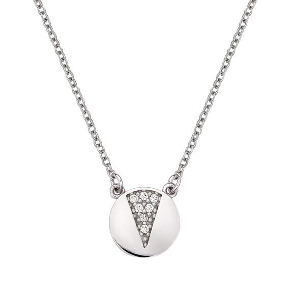 Στρόγγυλο Μενταγιόν Λευκόχρυσο Με Ζιργκόν 003104 Jewelor
