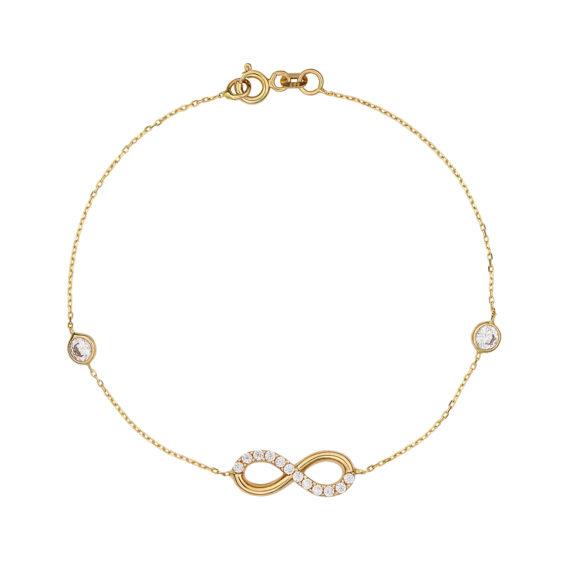 Βραχιόλι Αλυσίδα Άπειρο Χρυσό Με Ζιργκόν 003088 Jewelor