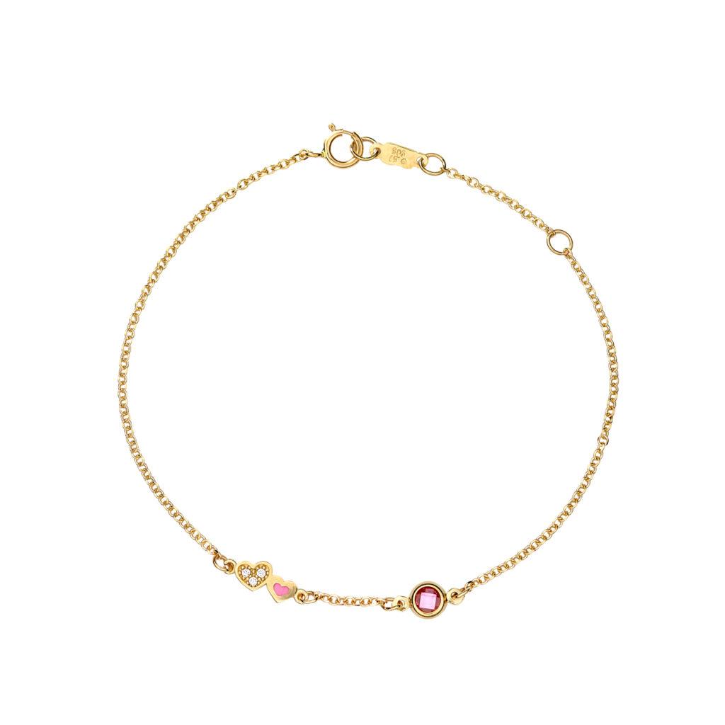 Βραχιόλι Αλυσίδα Καρδούλα Χρυσό Με Ζιργκόν Και Σμάλτο 003082 Jewelor