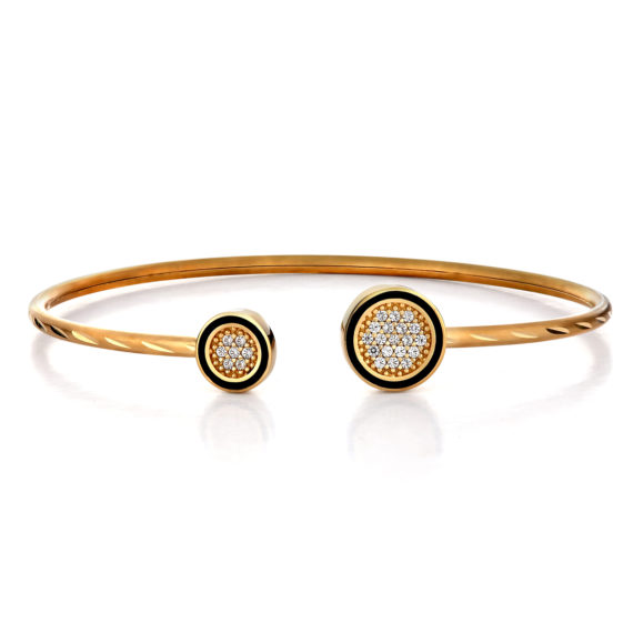 Βραχιόλι Ανάγλυφο Χρυσό Με Ζιργκόν Και Σμάλτο 003110 Jewelor