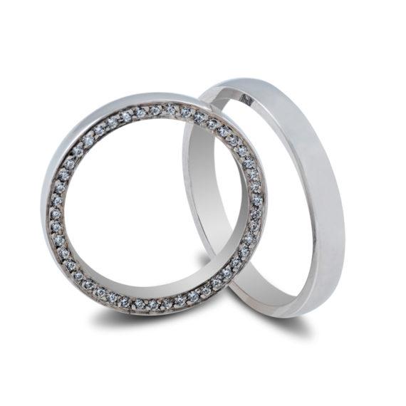 Βέρες Maschio Femmina Σειρά Sottile Κλασικές Λευκόχρυσες Με Λευκό Ζιργκόν SL90 Jewelor