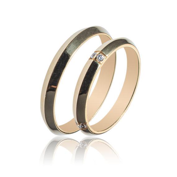 Βέρες Maschio Femmina Σειρά Sottile Κλασικές Πομπέ Χρυσές Με Λευκό Ζιργκόν SL72 Jewelor