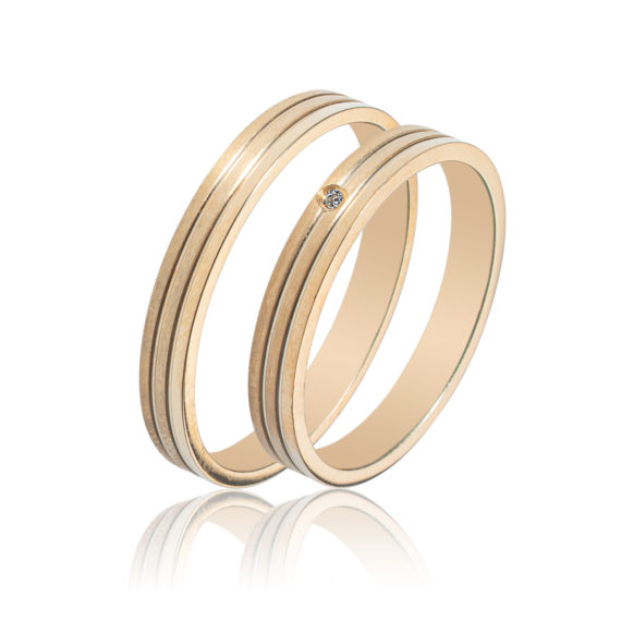 Βέρες Maschio Femmina Σειρά Sottile Κλασικές Σφυρήλατες Χρυσές Με Λευκό Ζιργκόν SL58 Jewelor