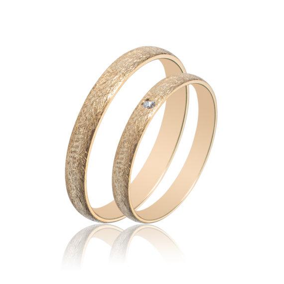 Βέρες Maschio Femmina Σειρά Sottile Κλασικές Ζαγρέ Χρυσές Με Λευκό Ζιργκόν SL71 Jewelor