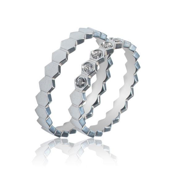 Βέρες Maschio Femmina Σειρά Sottile Μοντέρνες Λευκόχρυσες Με Λευκό Ζιργκόν SL96 Jewelor