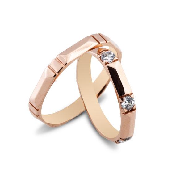 Βέρες Maschio Femmina Σειρά Sottile Μοντέρνες Σκαλιστές Ροζ Χρυσές Με Λευκό Ζιργκόν SL49 Jewelor