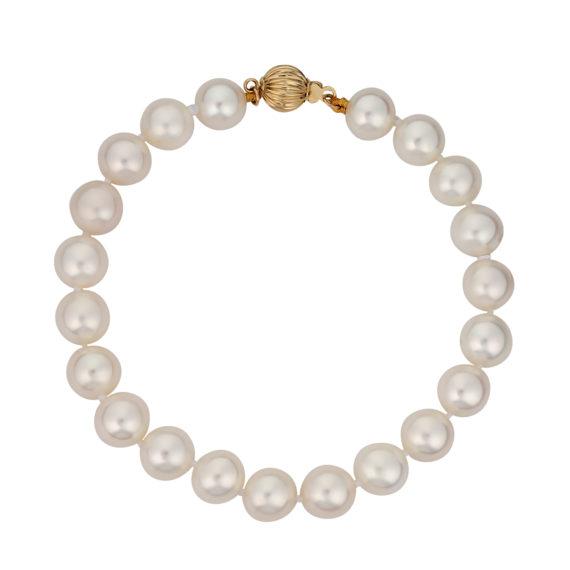 Μαργαριταρένιο Βραχιόλι Με Χρυσό Κούμπωμα 003114 Jewelor