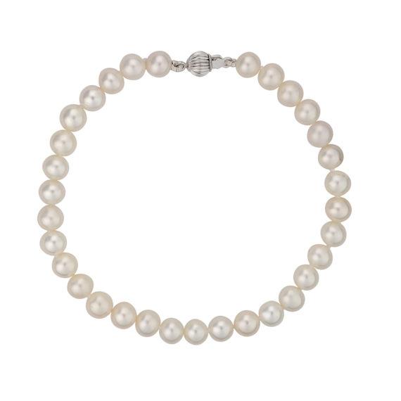 Μαργαριταρένιο Βραχιόλι Με Λευκόχρυσο Κούμπωμα 003120 Jewelor