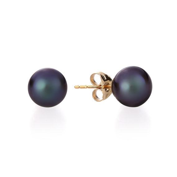 Μαύρα Μαργαριταρένια Σκουλαρίκια Με Χρυσό Κούμπωμα 003123 Jewelor