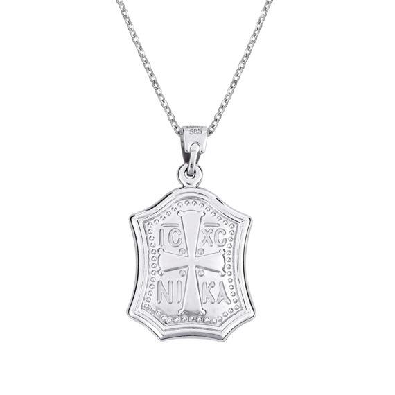 Κρεμαστό Ιησούς Χριστός Λευκόχρυσο Διπλής Όψης 14Κ 003147 2 Jewelor