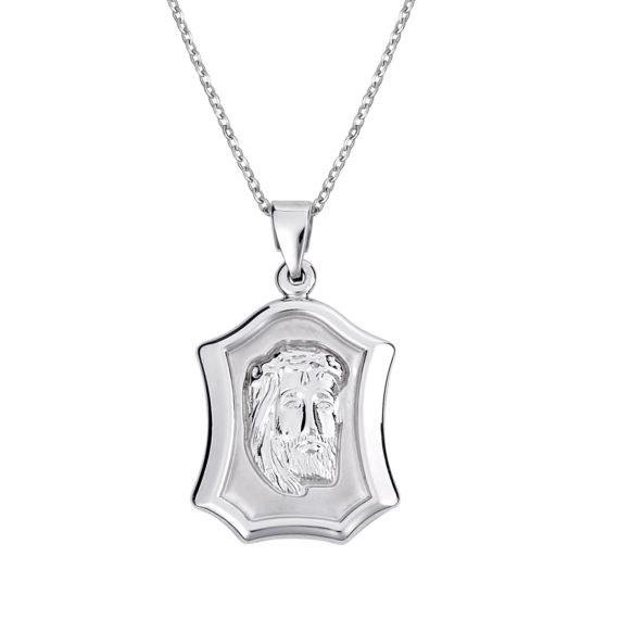 Κρεμαστό Ιησούς Χριστός Λευκόχρυσο Διπλής Όψης 14Κ 003147 Jewelor