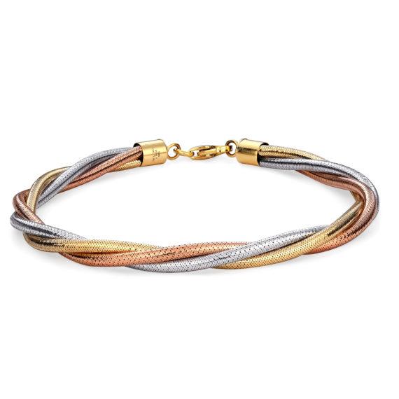 Πλεκτό Μοντέρνο Βραχιόλι Τρίχρωμο Σφυρήλατο 14Κ 003146 Jewelor