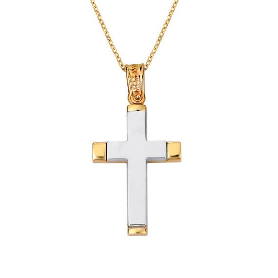 Σταυρός Ιησούς Χριστός Δίχρωμος Χρυσός Ματ Και Γυαλιστερός Διπλής Όψης 14Κ 003140 Jewelor