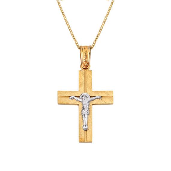 Σταυρός Ιησούς Χριστός Ματ Ζαγρέ Δίχρωμος Χρυσός Διπλής Όψης 14Κ 003139 2 Jewelor