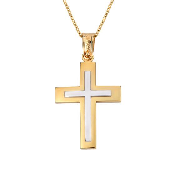Σταυρός Ιησούς Χριστός Ματ Ζαγρέ Δίχρωμος Χρυσός Διπλής Όψης 14Κ 003139 Jewelor