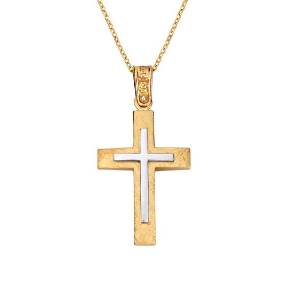 Σταυρός Ιησούς Χριστός Ζαγρέ Δίχρωμος Χρυσός Διπλής Όψης 14Κ 003138 2 Jewelor