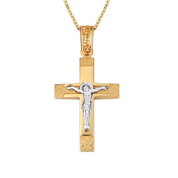 Σταυρός Ιησούς Χριστός Ζαγρέ Δίχρωμος Χρυσός Διπλής Όψης 14Κ 003138 Jewelor