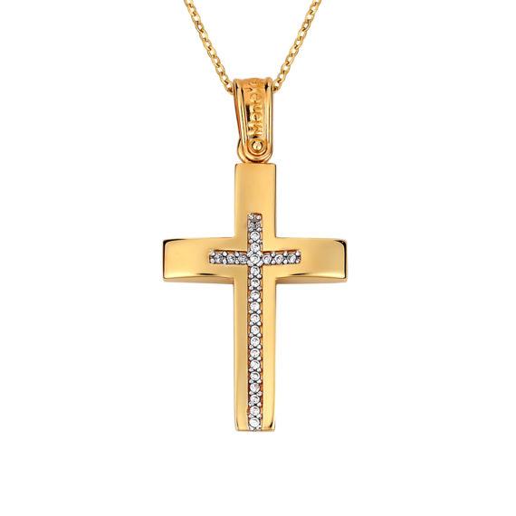 Σταυρός Κυρτός Κίτρινος Και Λευκός Χρυσός Με Ζιργκόν Διπλής Όψης 14Κ 003137 2 Jewelor