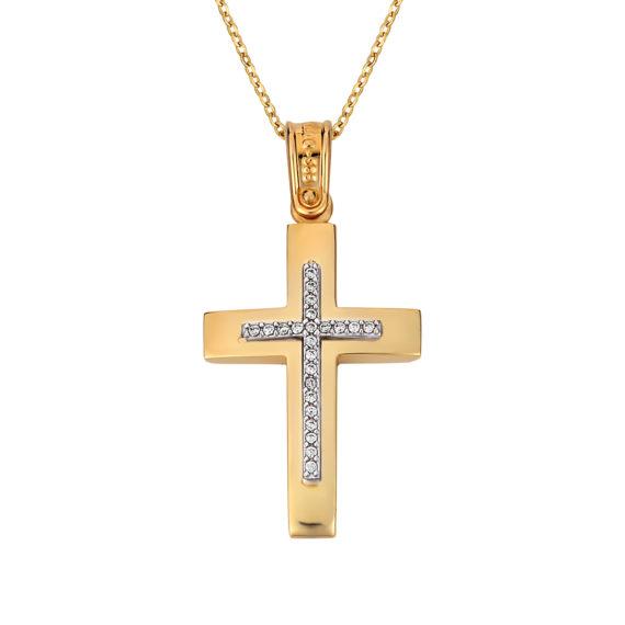 Σταυρός Κυρτός Κίτρινος Και Λευκός Χρυσός Με Ζιργκόν Διπλής Όψης 14Κ 003137 Jewelor
