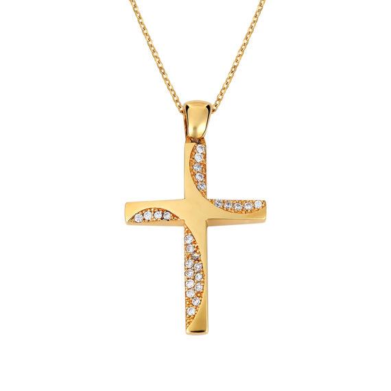 Σταυρός Μοντέρνος Σφυρήλατος Χρυσός Με Ζιργκόν Διπλής Όψης 14Κ 003141 2 Jewelor