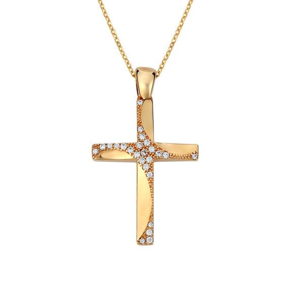 Σταυρός Μοντέρνος Σφυρήλατος Χρυσός Με Ζιργκόν Διπλής Όψης 14Κ 003141 Jewelor