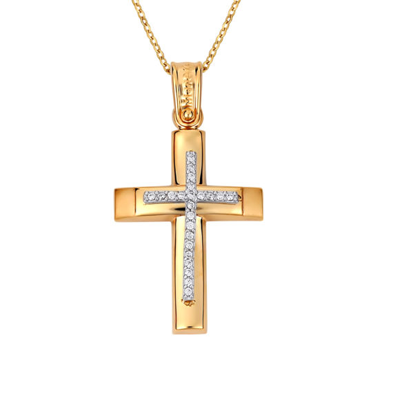 Σταυρός Πομπέ Δίχρωμος Με Ζιργκόν 14Κ 003131 Jewelor