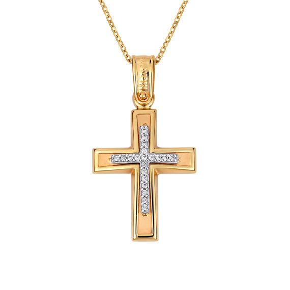 Σταυρός Πομπέ Κίτρινος Και Ροζ Χρυσός Με Ζιργκόν 14Κ 003136 Jewelor