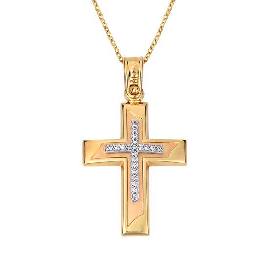 Σταυρός Πομπέ Τρίχρωμος Με Ζιργκόν 14Κ 003145 Jewelor