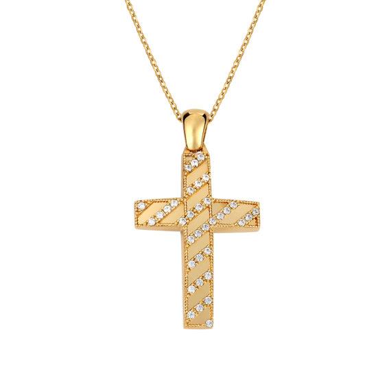 Σταυρός Ζαγρέ Δίχρωμος Χρυσός Με Ζιργκόν Διπλής Όψης 14Κ 003128 2 Jewelor