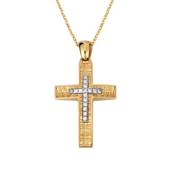 Σταυρός Ζαγρέ Δίχρωμος Χρυσός Με Ζιργκόν Διπλής Όψης 14Κ 003128 Jewelor