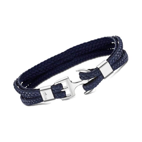 Βραχιόλι Άγκυρα Lotus Style Με Ατσάλι Και Διπλό Μπλε Κορδόνι LS2006 2 2 Jewelor