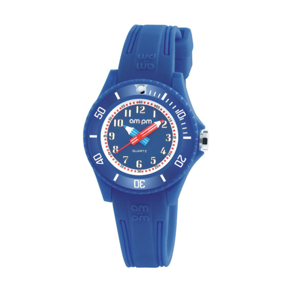 AM PM Blue Rubber Strap Kids' Watch PM192 K509