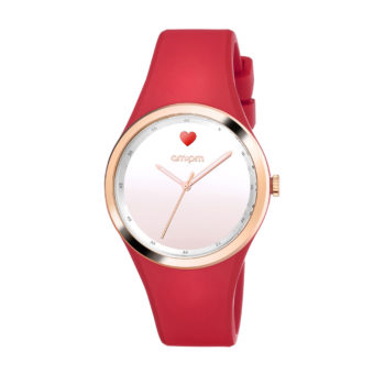 AM:PM Club Red Rubber Strap Women's Watch PM194-L548