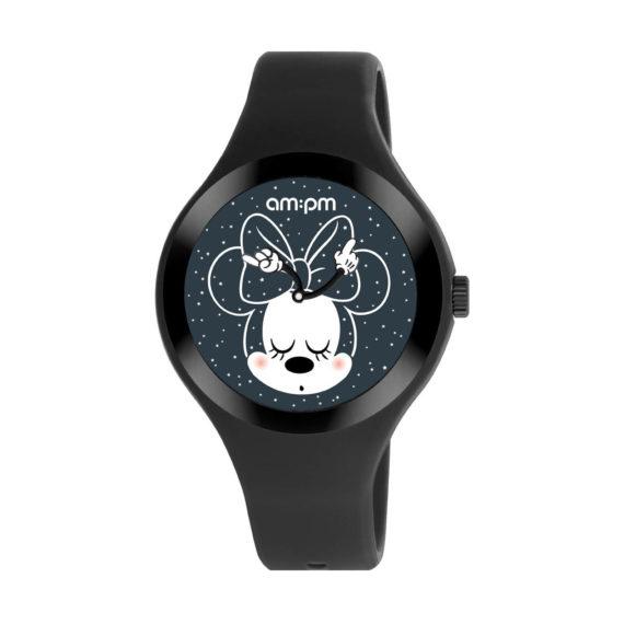AM PM Disney Black Rubber Strap Kids' Watch DP155 U527