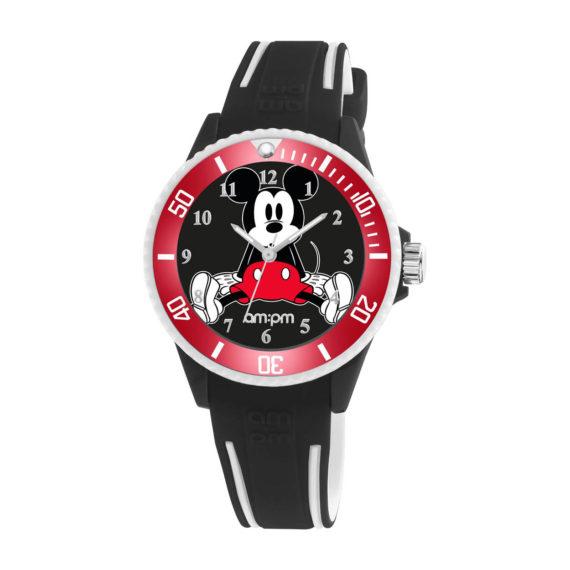 AM PM Disney Black Rubber Strap Kids' Watch DP187 U611