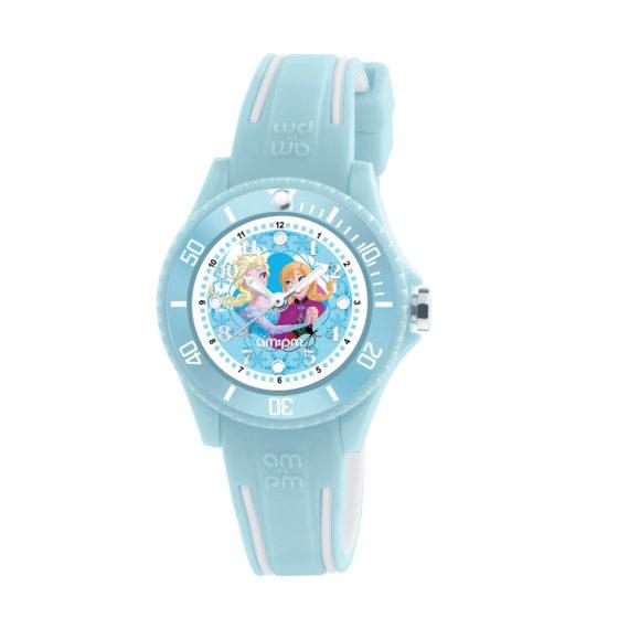 AM PM Disney Frozen Light Blue Rubber Strap Kids Watch DP186 K465