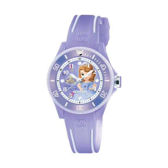 AM PM Disney Sofia Purple Rubber Strap Kids' Watch DP186 K470