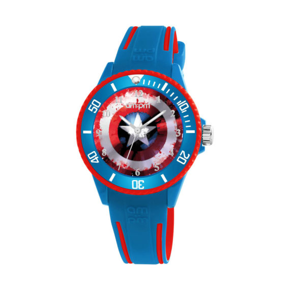 AM PM Marvel Captain America Blue Rubber Strap Kids' Watch MP187 U621