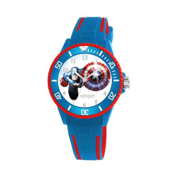 AM PM Marvel Captain America Blue Rubber Strap Kids' Watch MP187 U622