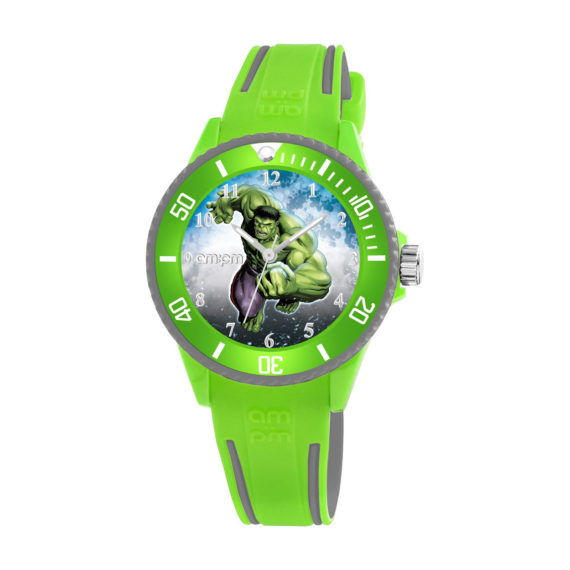 AM PM Marvel Hulk Green Rubber Strap Kids' Watch MP187 U629