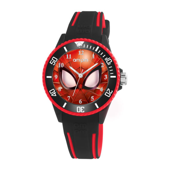 AM PM Marvel Spiderman Black Rubber Strap Kids' Watch MP187 U625